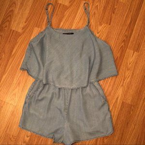 Denim Shorts Romper with Pockets (Small) #A20